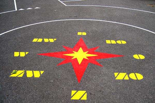 vloerschildering-speelplaats-kompas