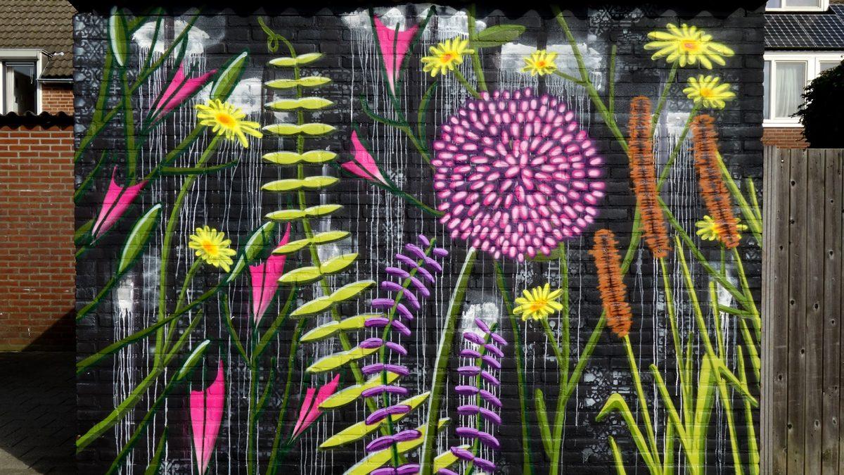 muurschildering-bloemen
